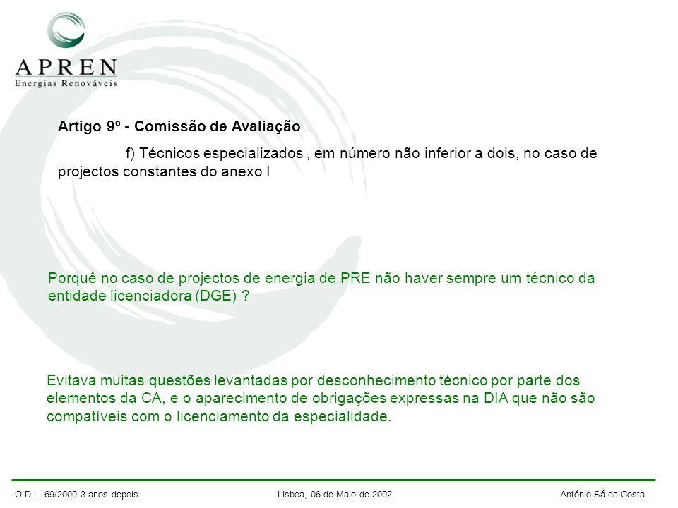 O D.L. 69/2000 3 anos depois Lisboa, 06 de Maio de 2002 António Sá da Costa Artigo 9º - Comissão de Avaliação f) Técnicos especializados, em número nã