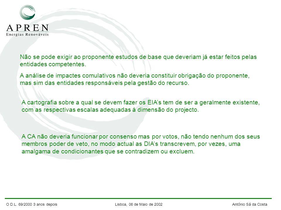 O D.L. 69/2000 3 anos depois Lisboa, 06 de Maio de 2002 António Sá da Costa Não se pode exigir ao proponente estudos de base que deveriam já estar fei