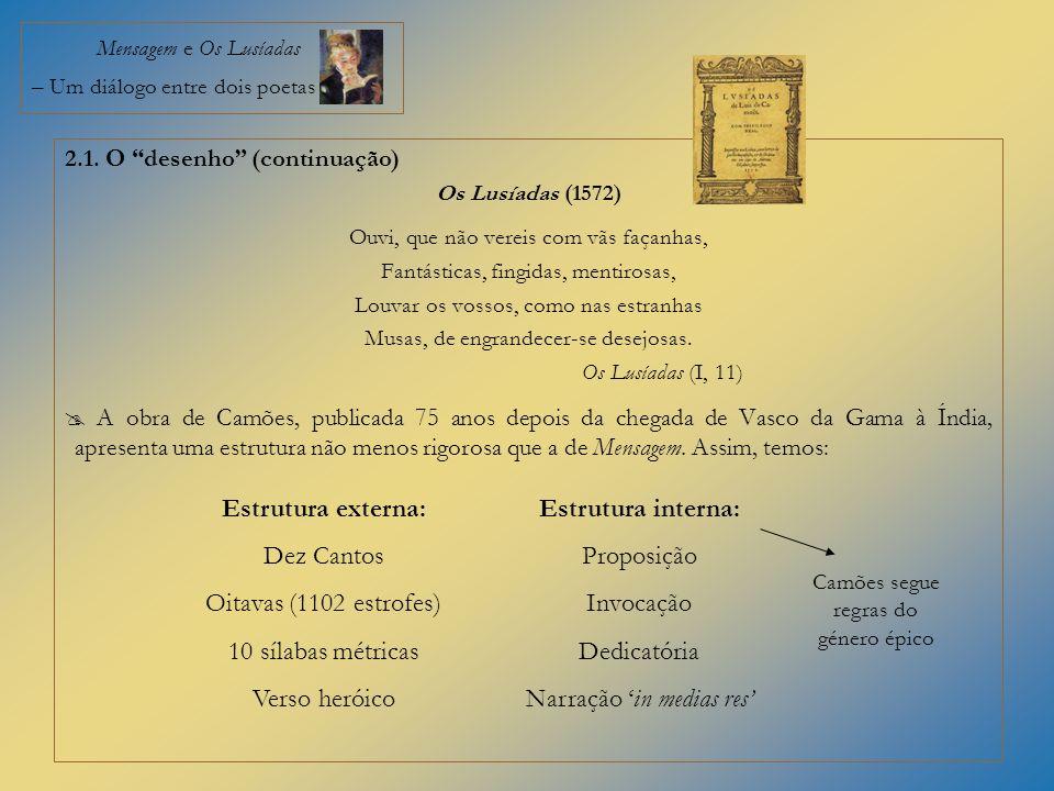 Mensagem e Os Lusíadas – Um diálogo entre dois poetas 2.1. O desenho (continuação) Os Lusíadas (1572) Ouvi, que não vereis com vãs façanhas, Fantástic