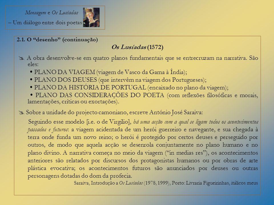 Mensagem e Os Lusíadas – Um diálogo entre dois poetas 2.1. O desenho (continuação) Os Lusíadas (1572) A obra desenvolve-se em quatro planos fundamenta