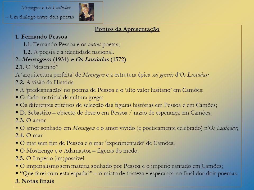Mensagem e Os Lusíadas – Um diálogo entre dois poetas Pontos da Apresentação 1. Fernando Pessoa 1.1. Fernando Pessoa e os outros poetas; 1.2. A poesia