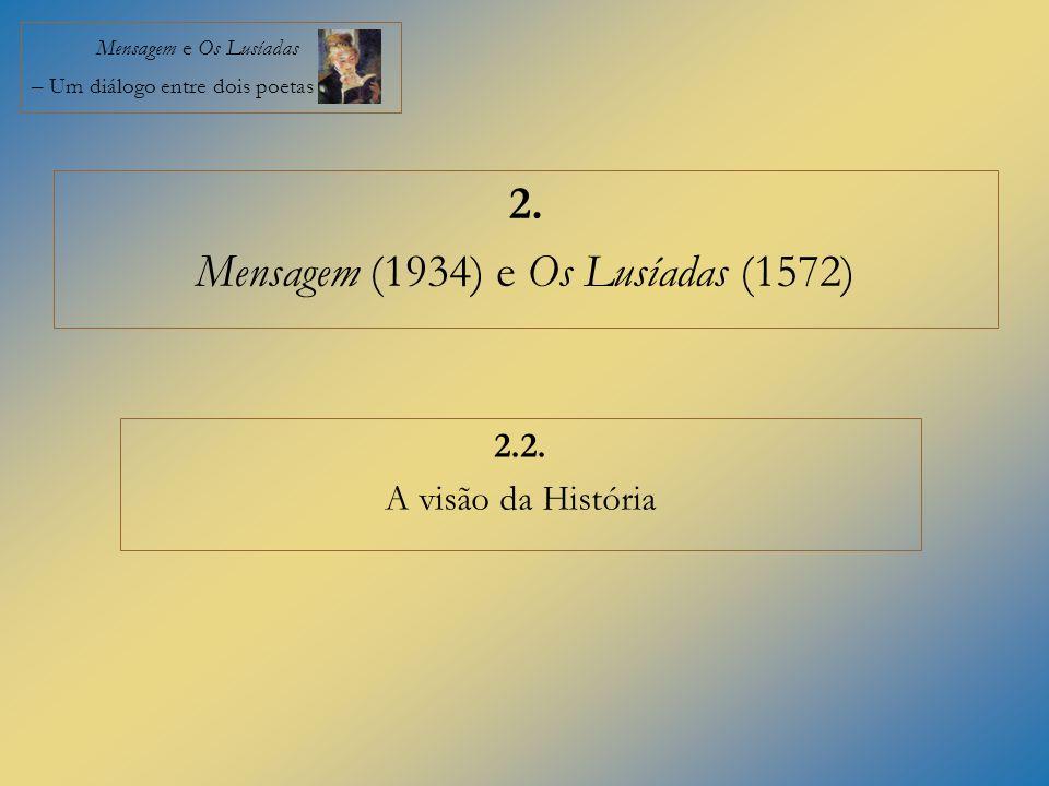 Mensagem e Os Lusíadas – Um diálogo entre dois poetas 2. Mensagem (1934) e Os Lusíadas (1572) 2.2. A visão da História