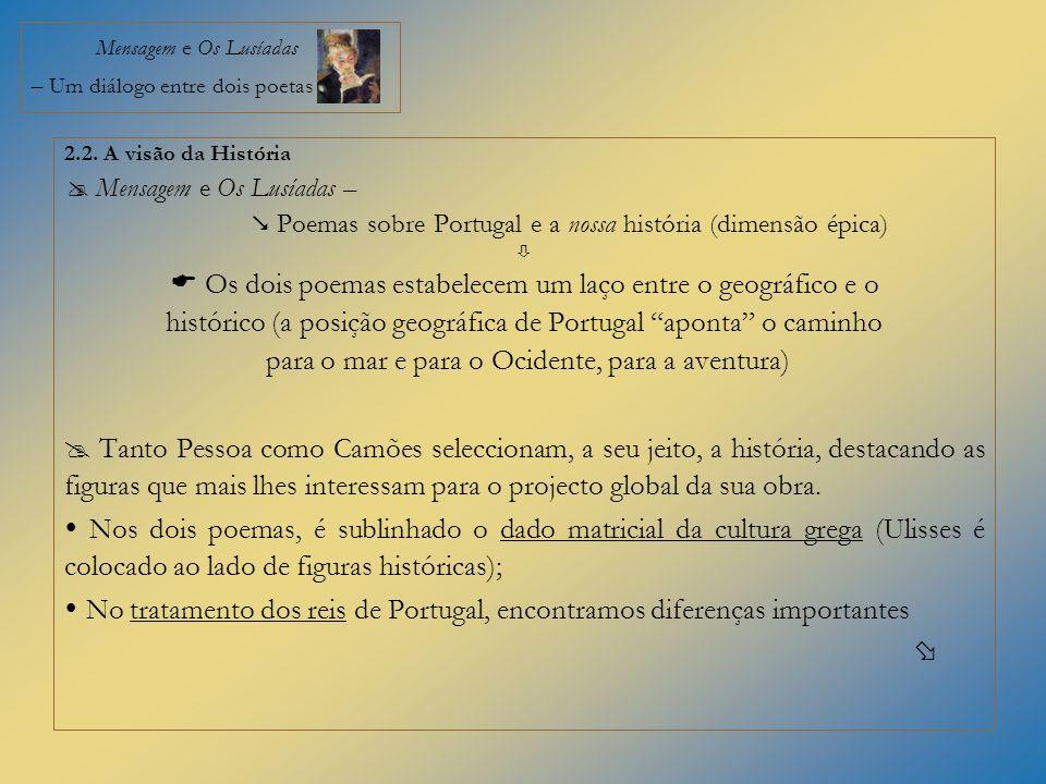 Mensagem e Os Lusíadas – Um diálogo entre dois poetas 2.2. A visão da História Mensagem e Os Lusíadas – Poemas sobre Portugal e a nossa história (dime