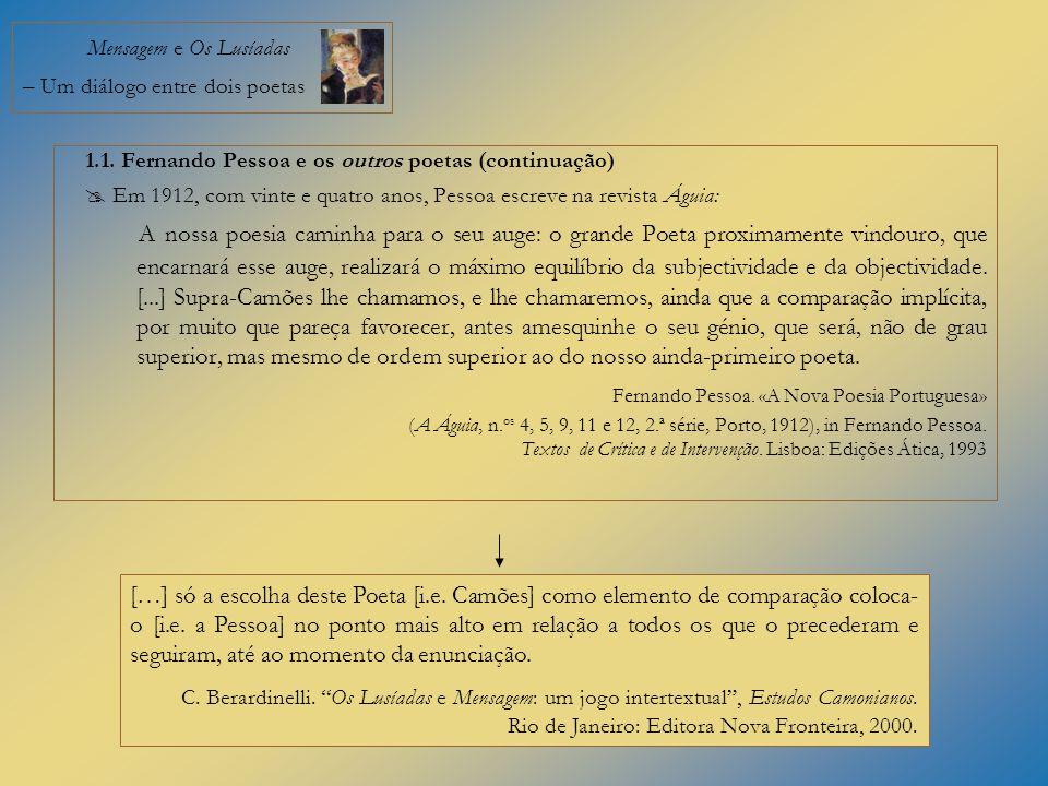 Mensagem e Os Lusíadas – Um diálogo entre dois poetas 1.1. Fernando Pessoa e os outros poetas (continuação) Em 1912, com vinte e quatro anos, Pessoa e