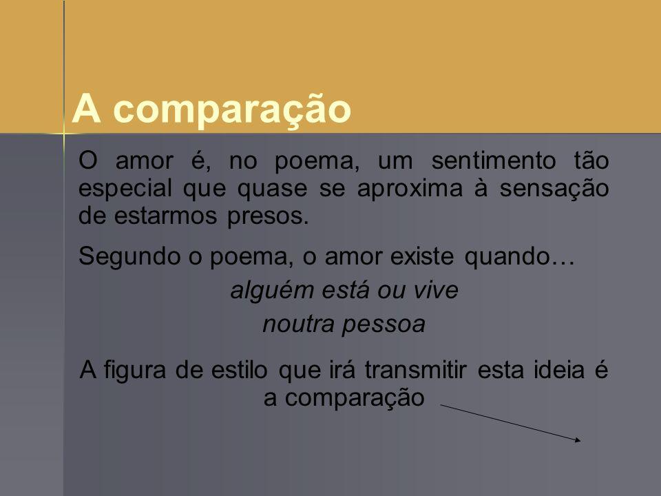 A comparação O amor é, no poema, um sentimento tão especial que quase se aproxima à sensação de estarmos presos. Segundo o poema, o amor existe quando