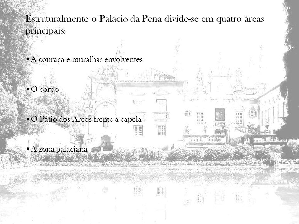 Estruturalmente o Palácio da Pena divide-se em quatro áreas principais : A couraça e muralhas envolventes O corpo O Pátio dos Arcos frente à capela A