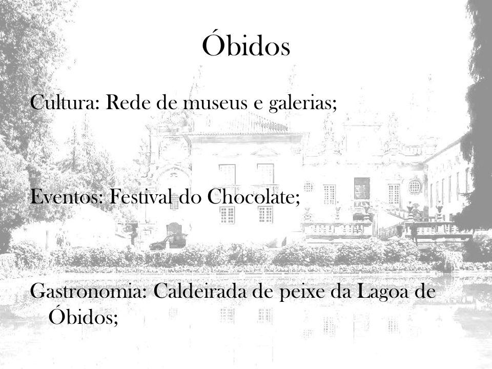 Cultura: Rede de museus e galerias; Eventos: Festival do Chocolate; Gastronomia: Caldeirada de peixe da Lagoa de Óbidos;