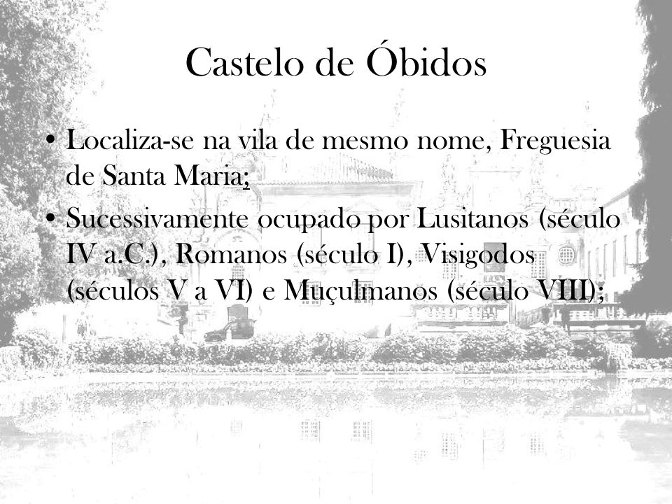 Localiza-se na vila de mesmo nome, Freguesia de Santa Maria; Sucessivamente ocupado por Lusitanos (século IV a.C.), Romanos (século I), Visigodos (séc
