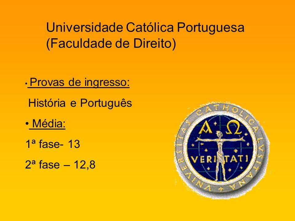 Universidade Católica Portuguesa (Faculdade de Direito) Provas de ingresso: História e Português Média: 1ª fase- 13 2ª fase – 12,8