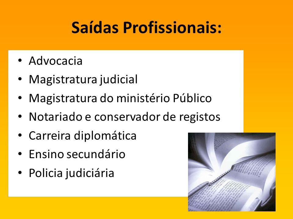 Saídas Profissionais: Advocacia Magistratura judicial Magistratura do ministério Público Notariado e conservador de registos Carreira diplomática Ensino secundário Policia judiciária