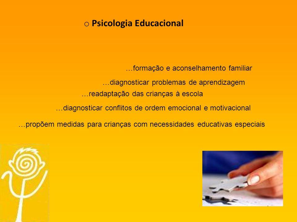 o Psicologia Educacional …readaptação das crianças à escola …formação e aconselhamento familiar …propõem medidas para crianças com necessidades educativas especiais …diagnosticar problemas de aprendizagem …diagnosticar conflitos de ordem emocional e motivacional