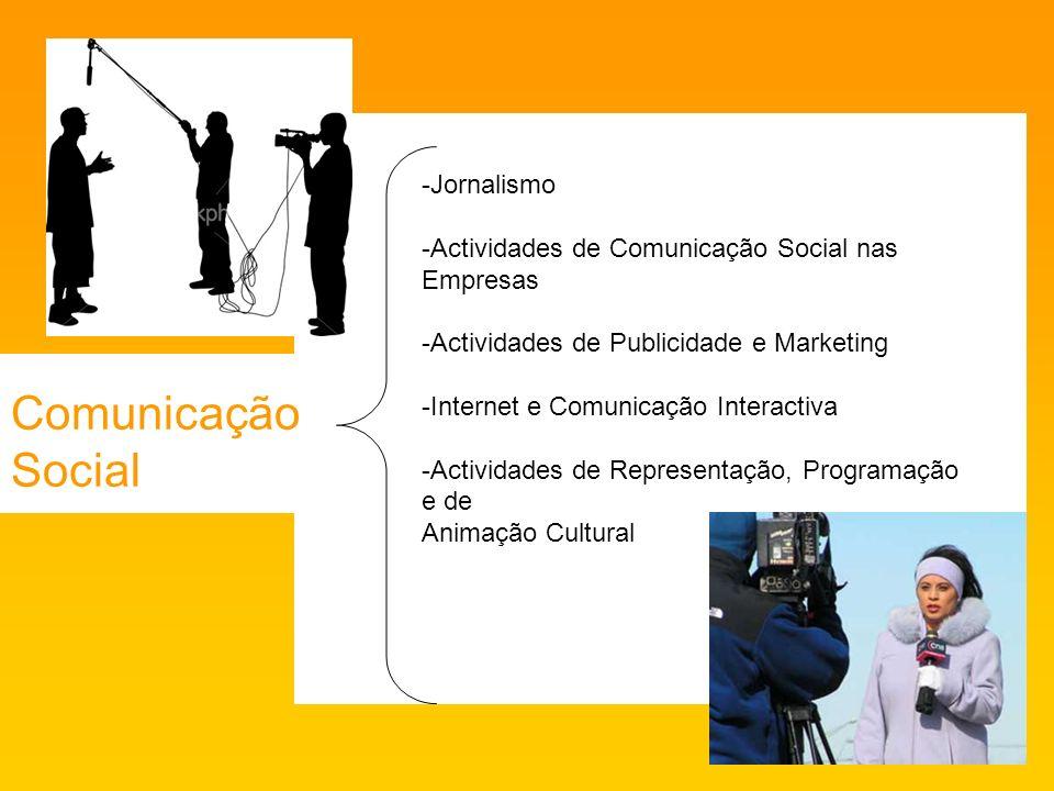 Comunicação Social -Jornalismo -Actividades de Comunicação Social nas Empresas -Actividades de Publicidade e Marketing -Internet e Comunicação Interactiva -Actividades de Representação, Programação e de Animação Cultural