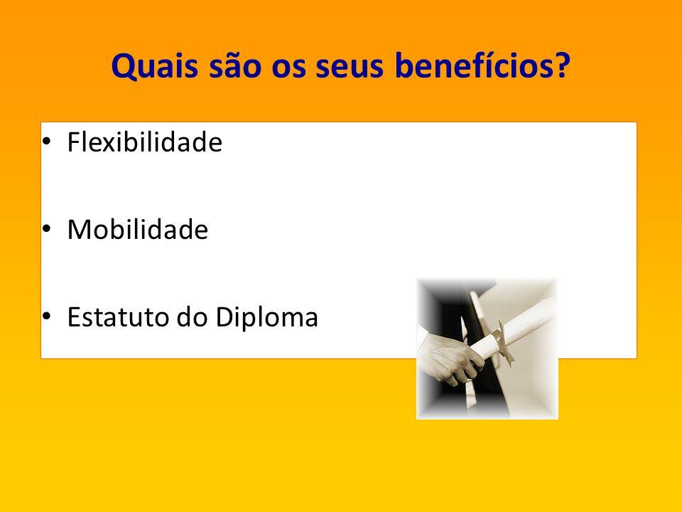 Quais são os seus benefícios? Flexibilidade Mobilidade Estatuto do Diploma