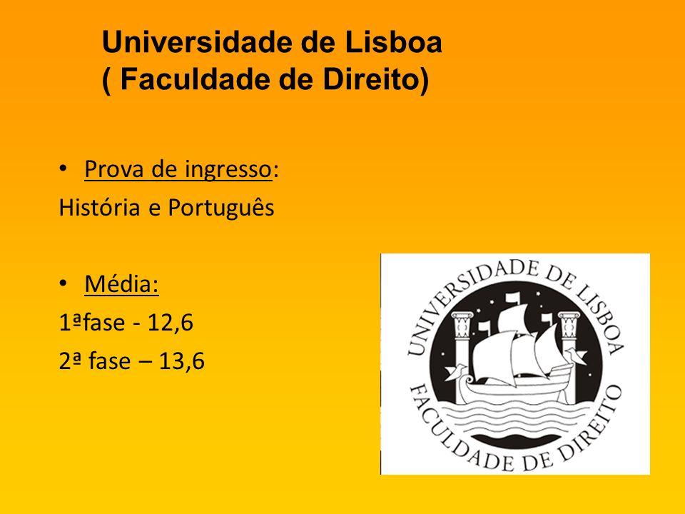 Universidade de Lisboa ( Faculdade de Direito) Prova de ingresso: História e Português Média: 1ªfase - 12,6 2ª fase – 13,6