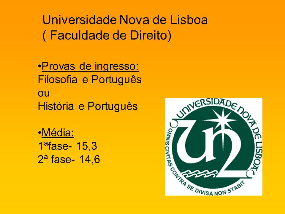 Universidade Nova de Lisboa ( Faculdade de Direito) Provas de ingresso: Filosofia e Português ou História e Português Média: 1ªfase- 15,3 2ª fase- 14,6