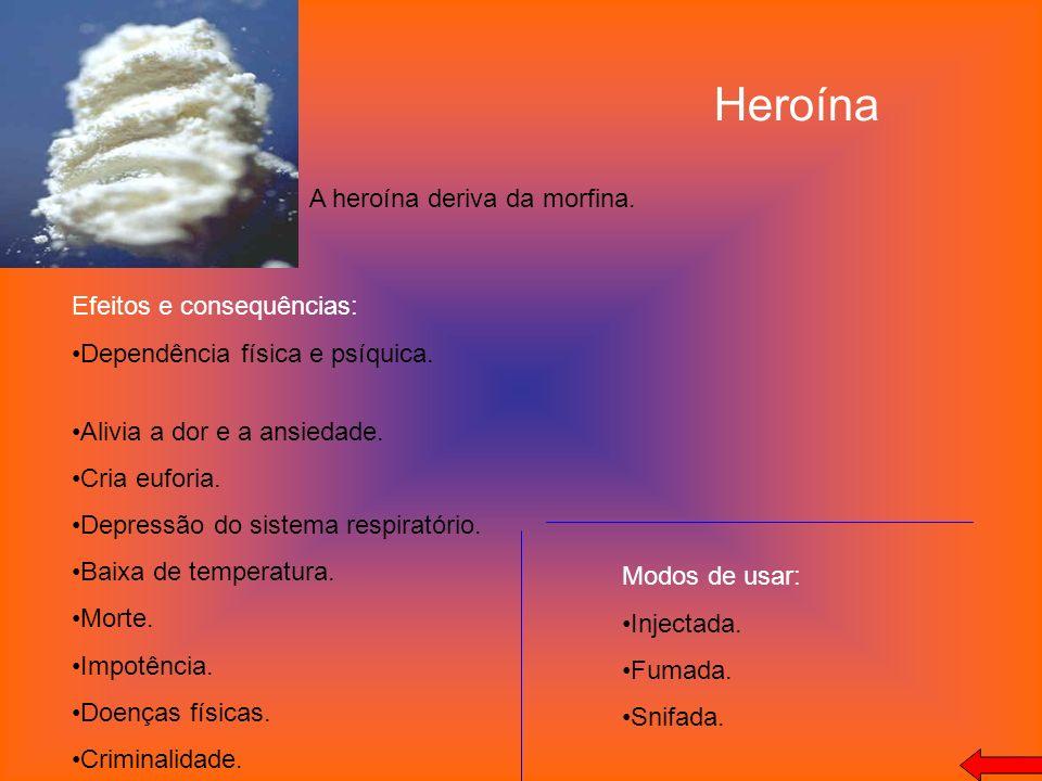 Heroína A heroína deriva da morfina. Efeitos e consequências: Dependência física e psíquica. Alivia a dor e a ansiedade. Cria euforia. Depressão do si