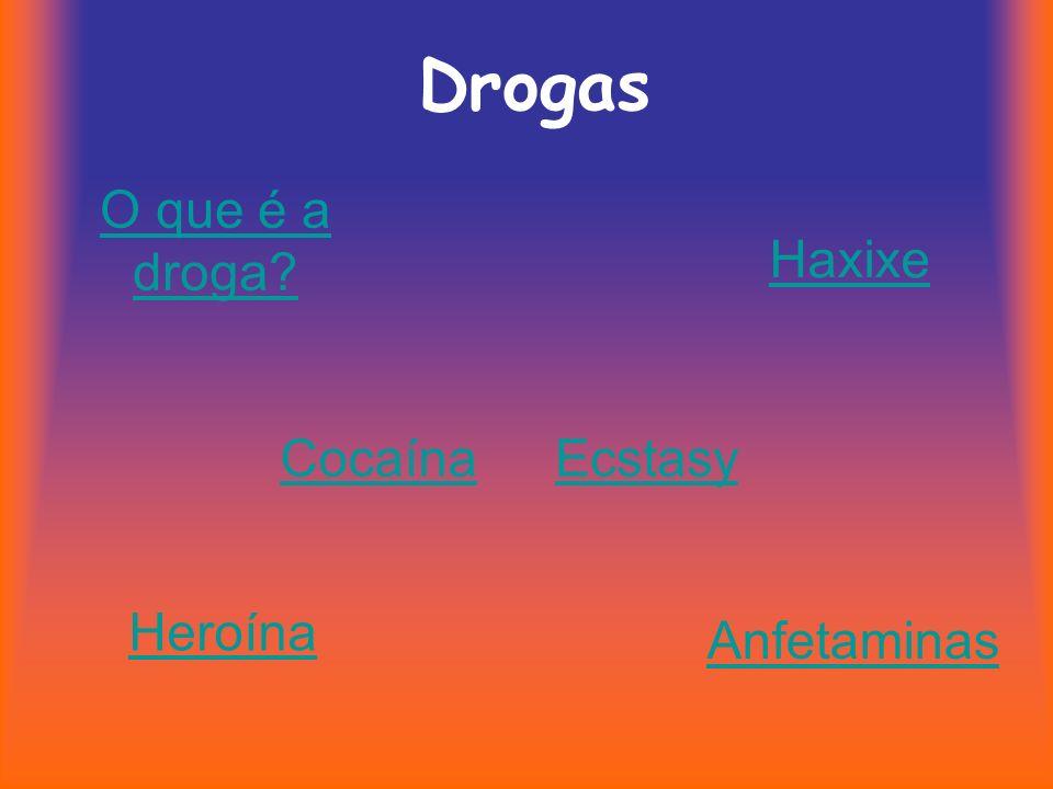 Drogas Haxixe CocaínaEcstasy Heroína Anfetaminas O que é a droga?