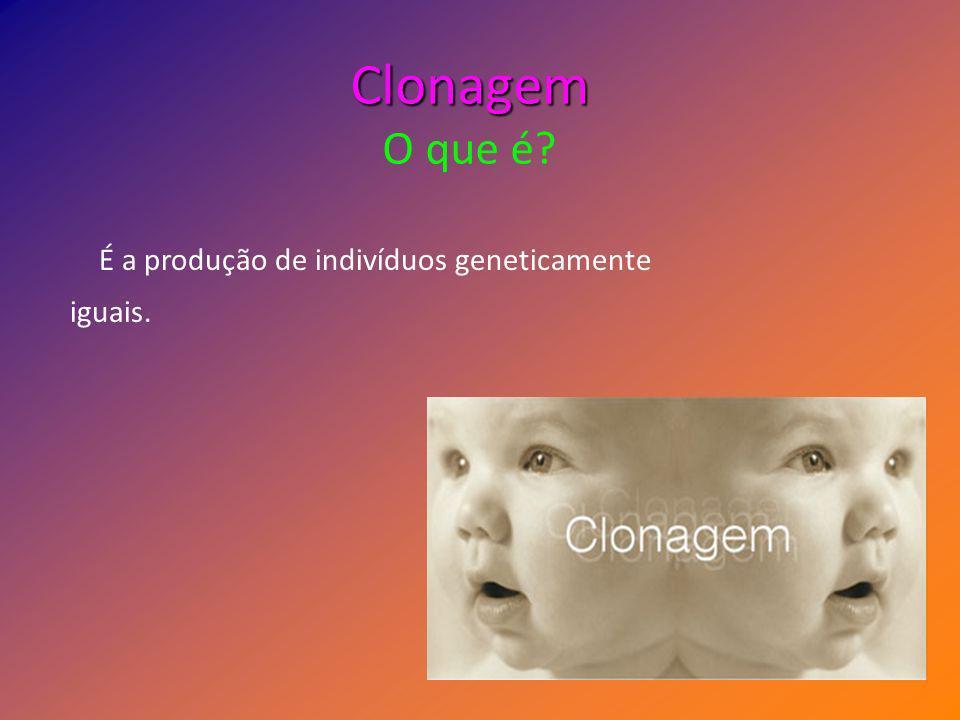 Clonagem Clonagem O que é? É a produção de indivíduos geneticamente iguais. é a produção de indivíduos geneticamente
