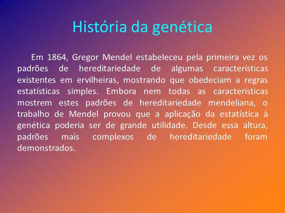 História da genética (cont.) A partir da sua análise estatística, Mendel definiu o conceito de alelo como sendo a unidade fundamental da hereditariedade.