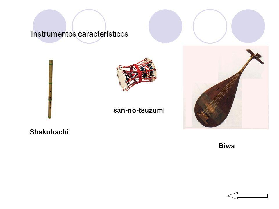 Instrumentos característicos Shakuhachi san-no-tsuzumi Biwa