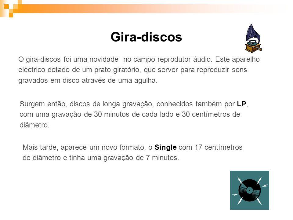 O gira-discos foi uma novidade no campo reprodutor áudio. Este aparelho eléctrico dotado de um prato giratório, que server para reproduzir sons gravad