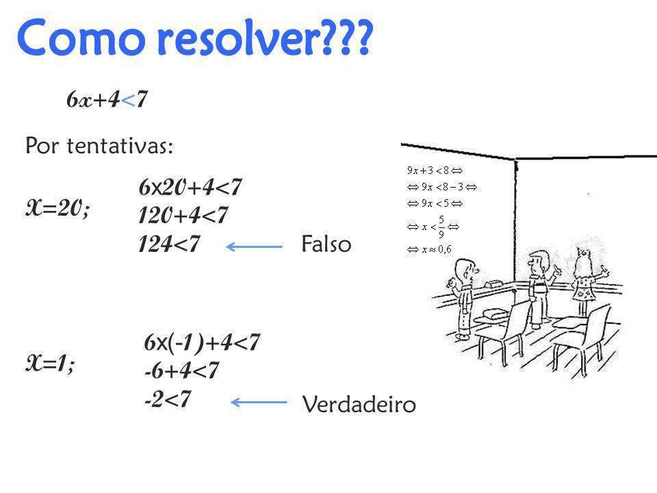 Por tentativas: 6x+4<7 Falso 6 x 20+4<7 120+4<7 124<7 X=20; X=1; 6 x(- 1)+4<7 -6+4<7 -2<7 Verdadeiro