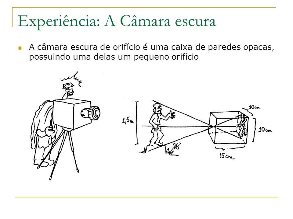 Experiência: A Câmara escura A câmara escura de orifício é uma caixa de paredes opacas, possuindo uma delas um pequeno orifício