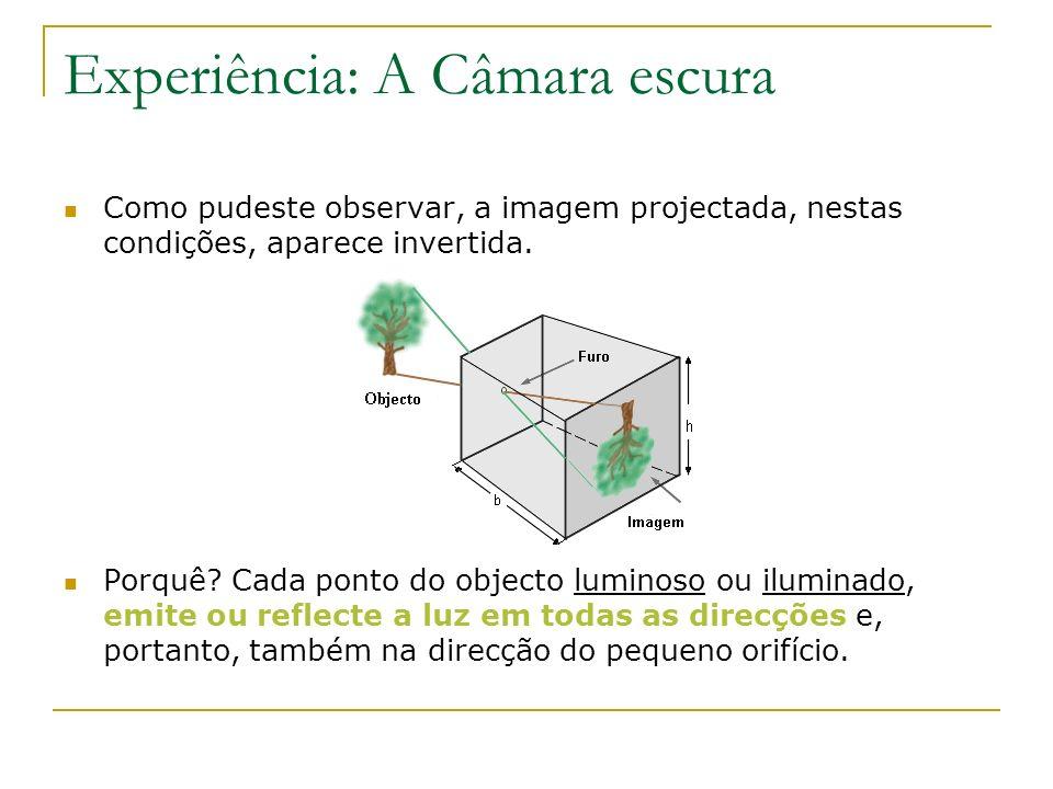 Experiência: A Câmara escura Como pudeste observar, a imagem projectada, nestas condições, aparece invertida. Porquê? Cada ponto do objecto luminoso o