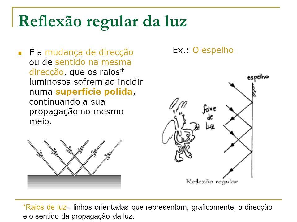 Reflexão regular da luz É a mudança de direcção ou de sentido na mesma direcção, que os raios* luminosos sofrem ao incidir numa superfície polida, con