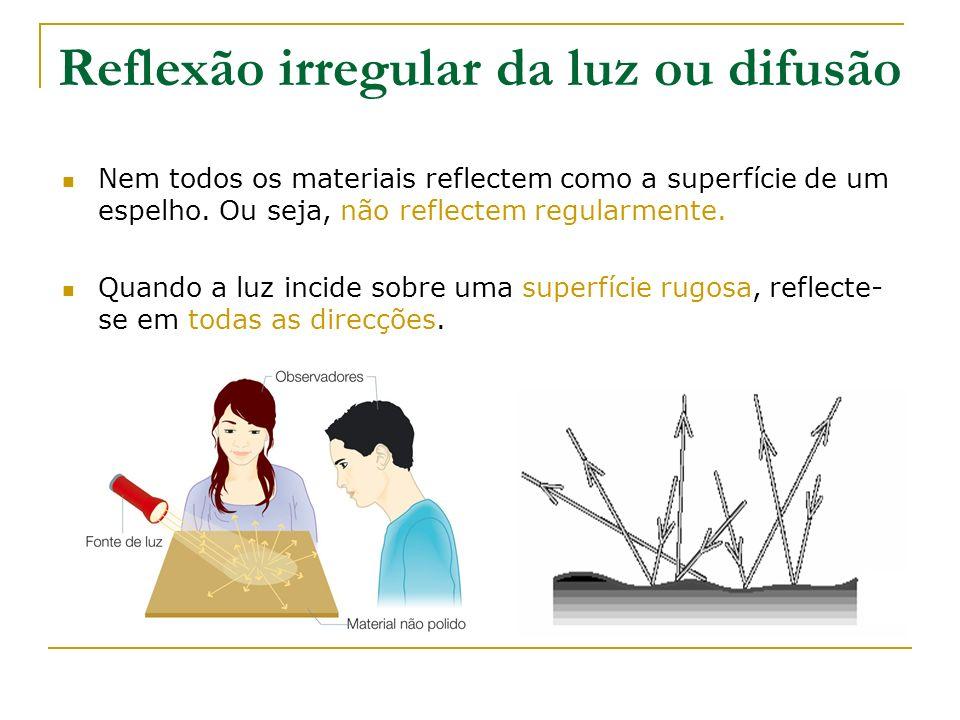 Reflexão irregular da luz ou difusão Nem todos os materiais reflectem como a superfície de um espelho. Ou seja, não reflectem regularmente. Quando a l