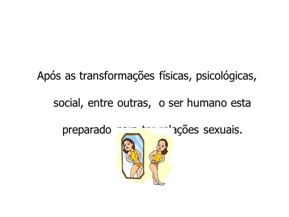 Após as transformações físicas, psicológicas, social, entre outras, o ser humano esta preparado para ter relações sexuais.