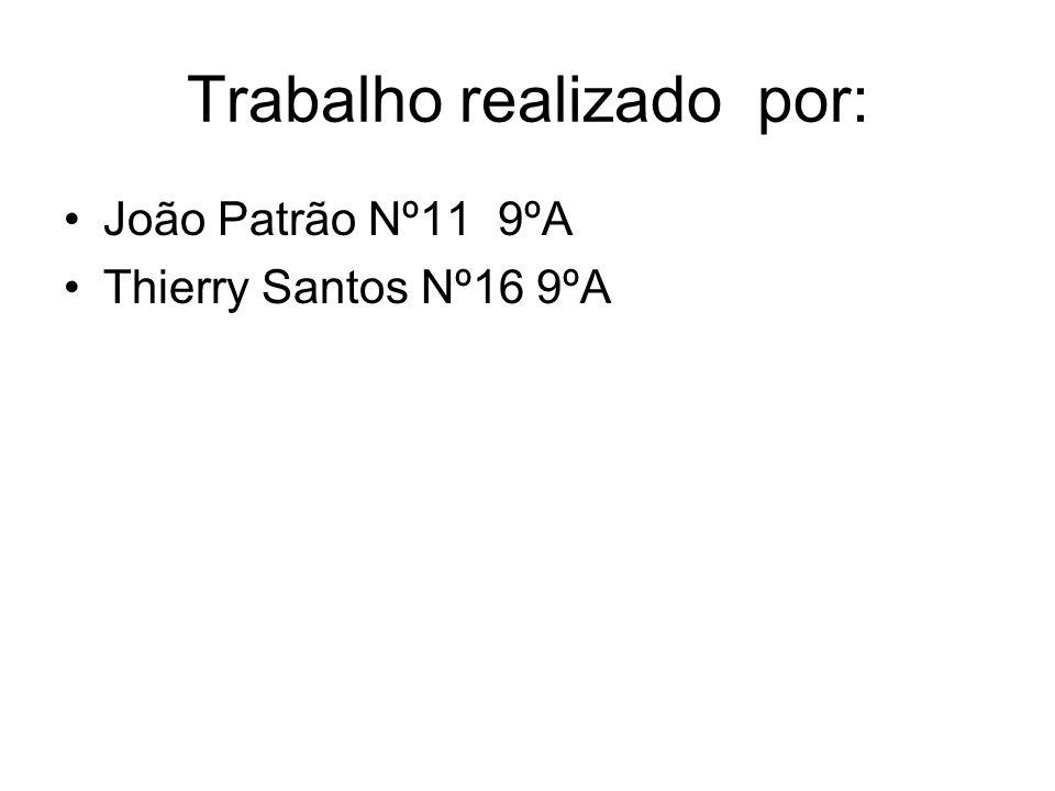 Trabalho realizado por: João Patrão Nº11 9ºA Thierry Santos Nº16 9ºA