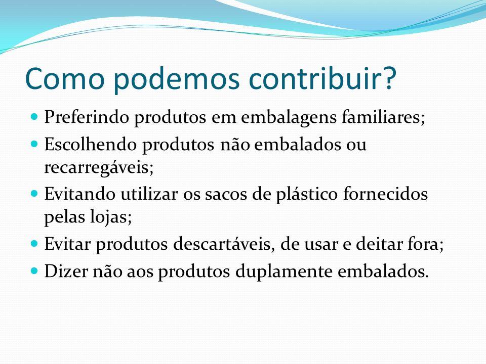 Como podemos contribuir? Preferindo produtos em embalagens familiares; Escolhendo produtos não embalados ou recarregáveis; Evitando utilizar os sacos