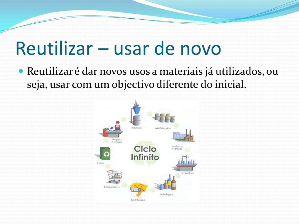Reutilizar – usar de novo Reutilizar é dar novos usos a materiais já utilizados, ou seja, usar com um objectivo diferente do inicial.