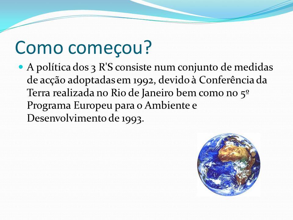 Como começou? A política dos 3 R'S consiste num conjunto de medidas de acção adoptadas em 1992, devido à Conferência da Terra realizada no Rio de Jane