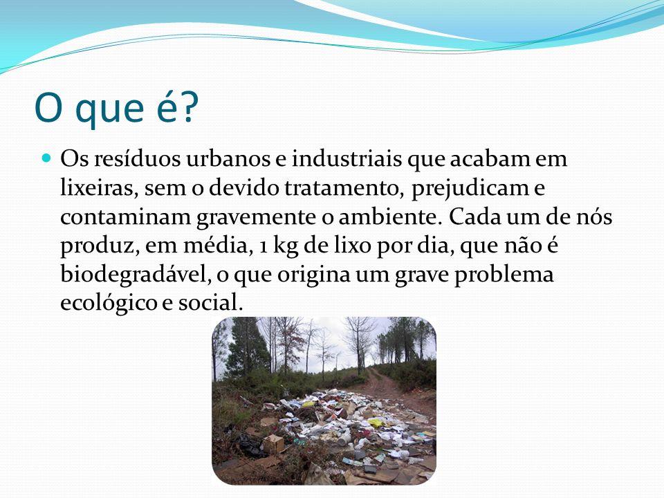 O que é? Os resíduos urbanos e industriais que acabam em lixeiras, sem o devido tratamento, prejudicam e contaminam gravemente o ambiente. Cada um de