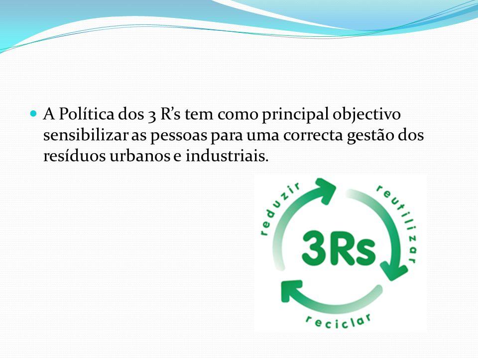 A Política dos 3 Rs tem como principal objectivo sensibilizar as pessoas para uma correcta gestão dos resíduos urbanos e industriais.