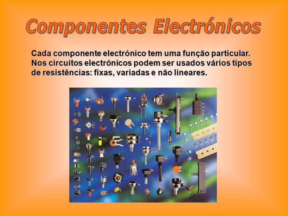 componente electrónico tem uma função particular. Nos circuitos electrónicos podem ser usados vários tipos de resistências: fixas, variadas e não line