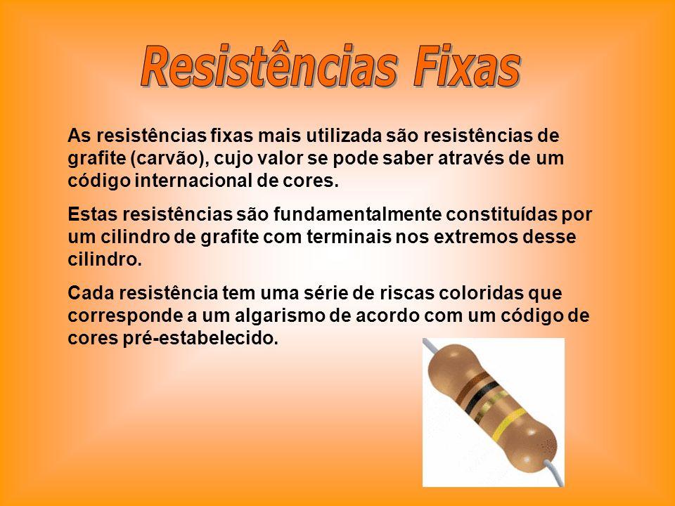 As resistências fixas mais utilizada são resistências de grafite (carvão), cujo valor se pode saber através de um código internacional de cores. Estas
