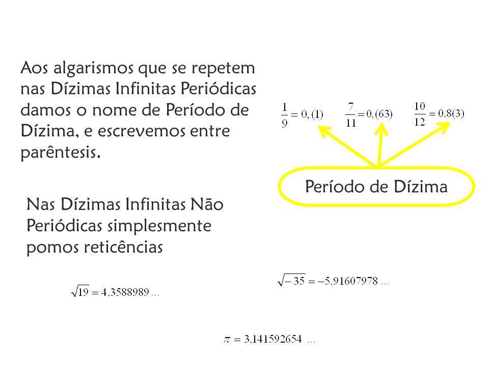 Aos algarismos que se repetem nas Dízimas Infinitas Periódicas damos o nome de Período de Dízima, e escrevemos entre parêntesis. Período de Dízima Nas