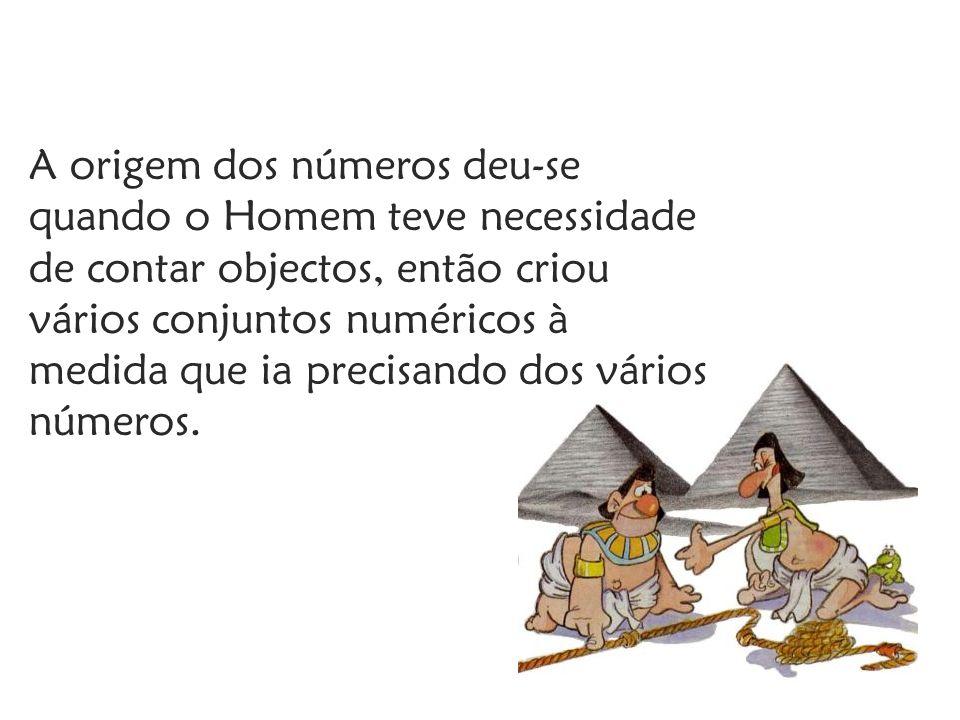 A origem dos números deu-se quando o Homem teve necessidade de contar objectos, então criou vários conjuntos numéricos à medida que ia precisando dos