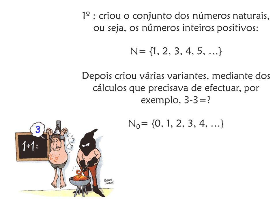 1º : criou o conjunto dos números naturais, ou seja, os números inteiros positivos: N = {1, 2, 3, 4, 5, …} Depois criou várias variantes, mediante dos