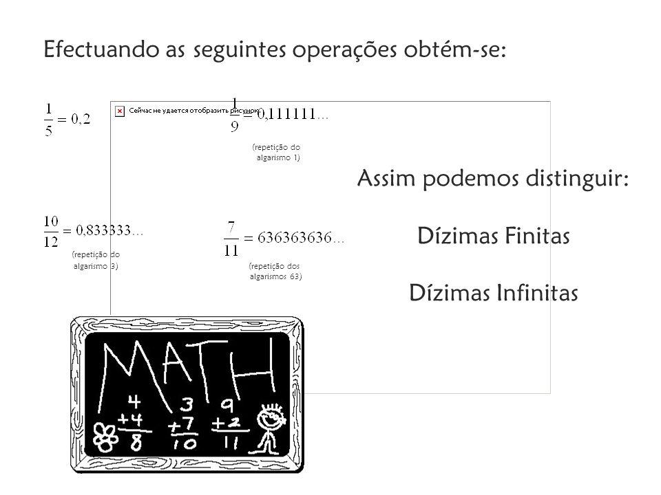 Efectuando as seguintes operações obtém-se: (repetição do algarismo 1) (repetição do algarismo 3) (repetição dos algarismos 63) Assim podemos distinguir: Dízimas Finitas Dízimas Infinitas