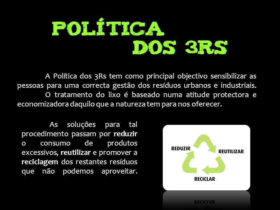 A Política dos 3Rs tem como principal objectivo sensibilizar as pessoas para uma correcta gestão dos resíduos urbanos e industriais. O tratamento do l