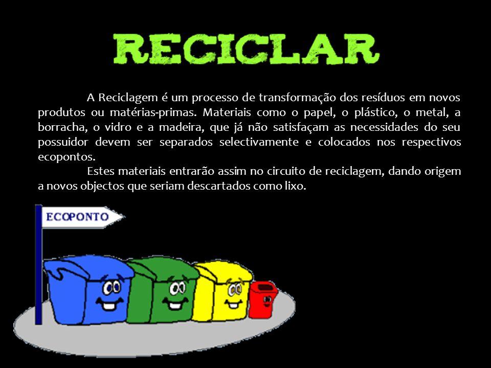 A Reciclagem é um processo de transformação dos resíduos em novos produtos ou matérias-primas. Materiais como o papel, o plástico, o metal, a borracha