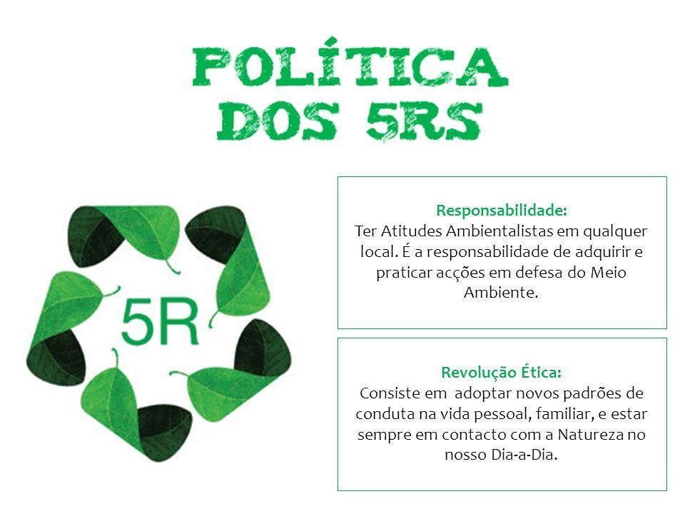 Responsabilidade: Ter Atitudes Ambientalistas em qualquer local. É a responsabilidade de adquirir e praticar acções em defesa do Meio Ambiente. Revolu