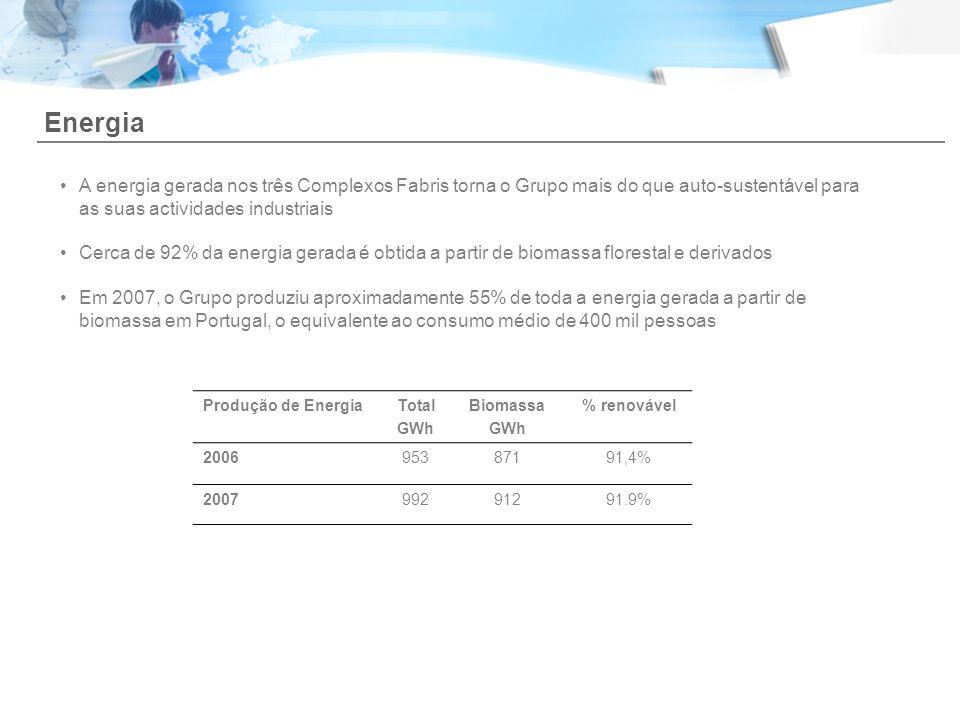 A energia gerada nos três Complexos Fabris torna o Grupo mais do que auto-sustentável para as suas actividades industriais Cerca de 92% da energia ger