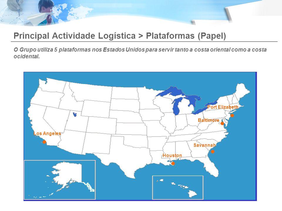 Principal Actividade Logística > Plataformas (Papel)..... Los Angeles Houston Savannah Baltimore Port Elizabeth O Grupo utiliza 5 plataformas nos Esta