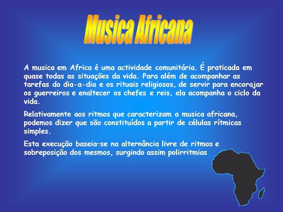 A musica em Africa é uma actividade comunitária. É praticada em quase todas as situações da vida. Para além de acompanhar as tarefas do dia-a-dia e os