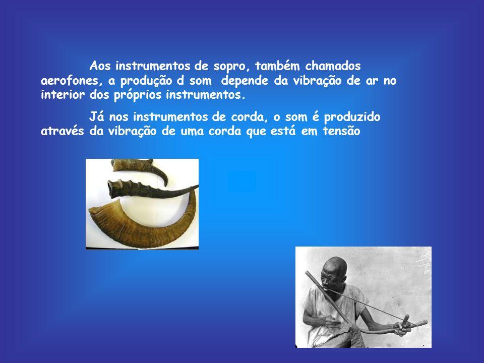 Aos instrumentos de sopro, também chamados aerofones, a produção d som depende da vibração de ar no interior dos próprios instrumentos. Já nos instrum